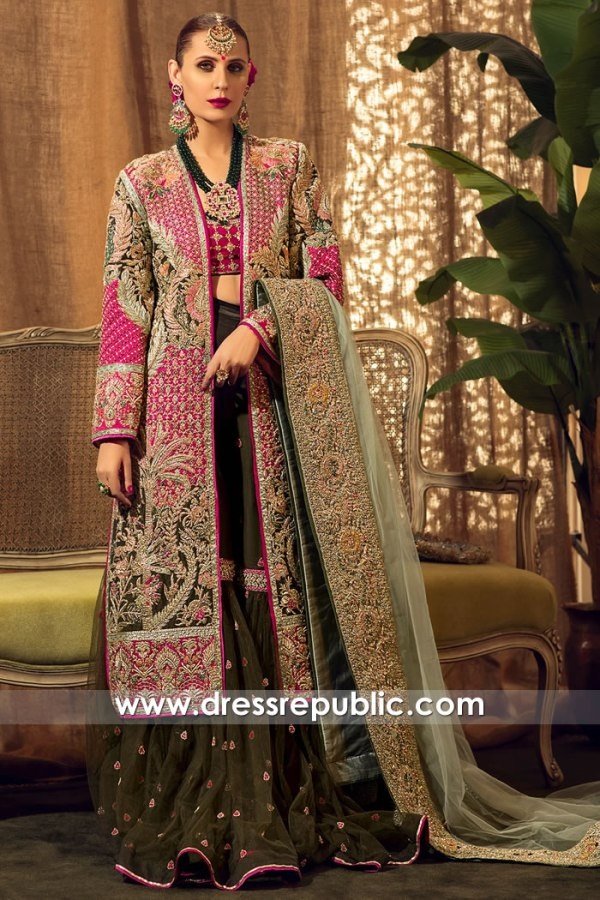 DR15810 Indian Pakistani Designer Modern Bridal Wear 2020 Long Jacket Gharara