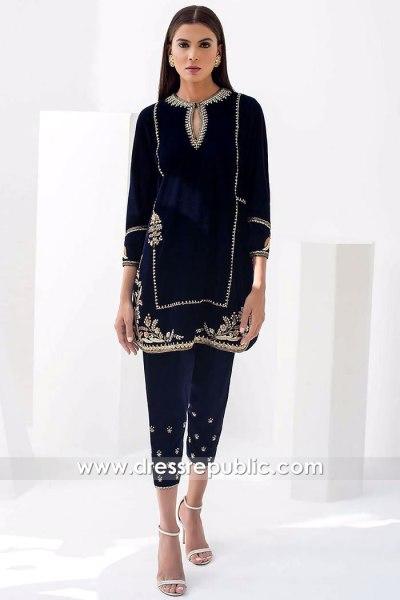 DR15868 Pakistani Designer Velvet Dresses Winter 2020 Online USA, Canada, UK
