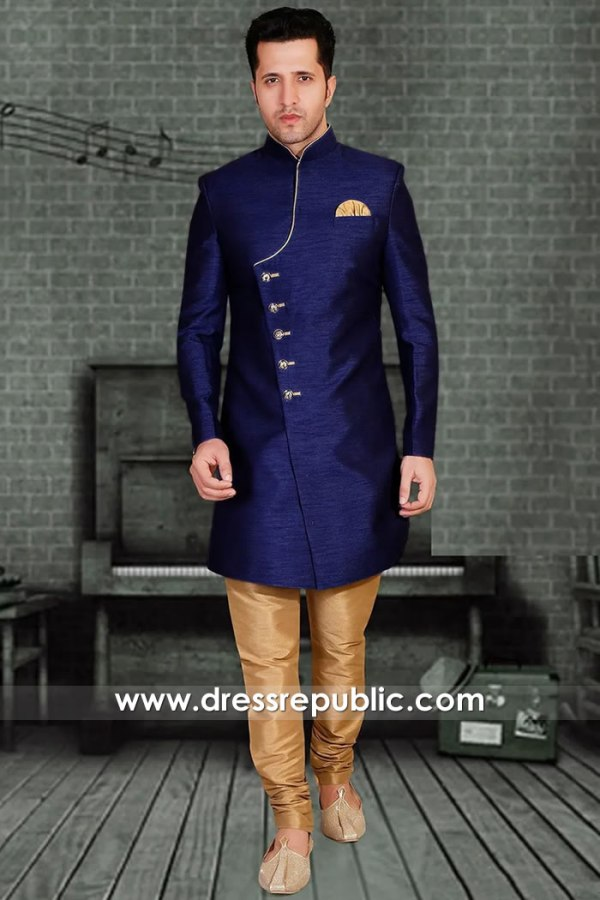 DRM5511 Blue Sherwani, Jodhpuri, Bandhgala Style for Groom's Friend & Brother