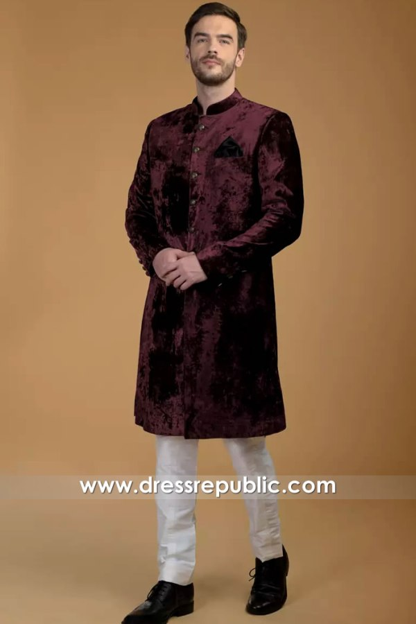 DRM5536 Winter Velvet Sherwani 2020 Collection Groom Sherwani Buy Online