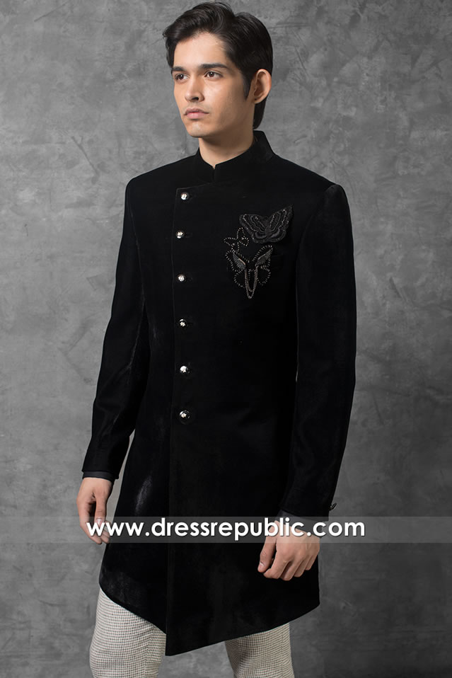 DRM5566 Velvet Sherwani 2020 UK, USA, Canada, Australia, New Zealand, Europe