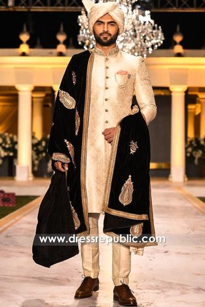 DRM5573 Pakistani Groom Sherwani Saudi Arabia, Turkey, Qatar, Kuwait, Bahrain