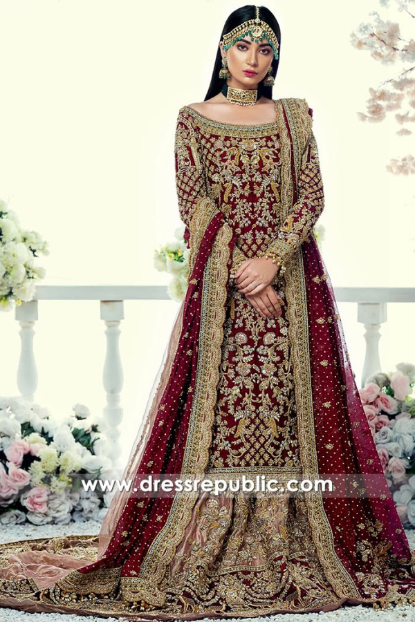 Maroon Bridal Lehenga by Pakistani Designers 2021 Collection Buy Online