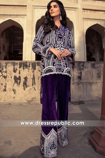 DR16098 Pakistani Designer Velvet Dresses for Winter 2021 Season Buy Online