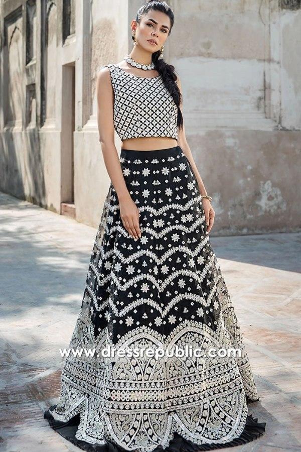 DR16099 Black Wedding Guest Lehenga Choli for Desi Indian Pakistani Dance Party