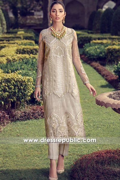DR16101 Beige Organza Embroidered Shirt Trousers Suit Buy in Birmingham, UK