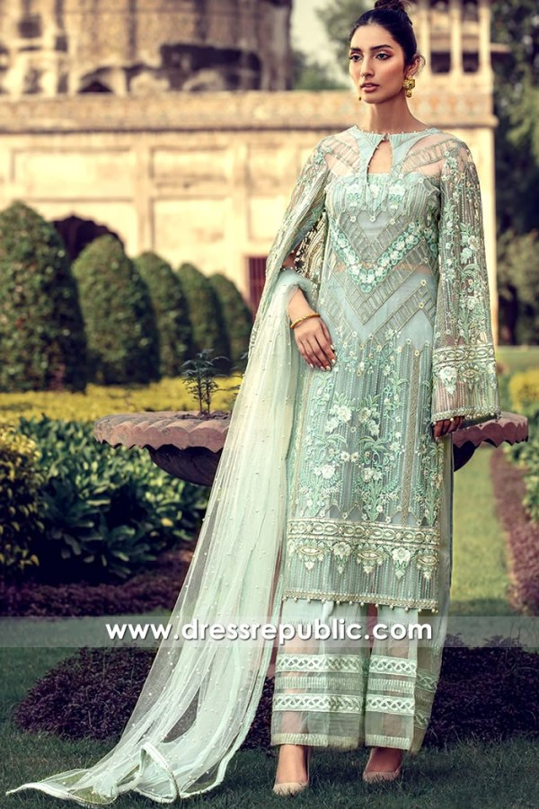 DR16102 Tulle net Floral Embroidered Dresses by Pakistani Designers Online Shop