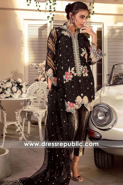 DR16154 Black Chiffon Dress with Floral Hand Work Buy in New York, New Jersey
