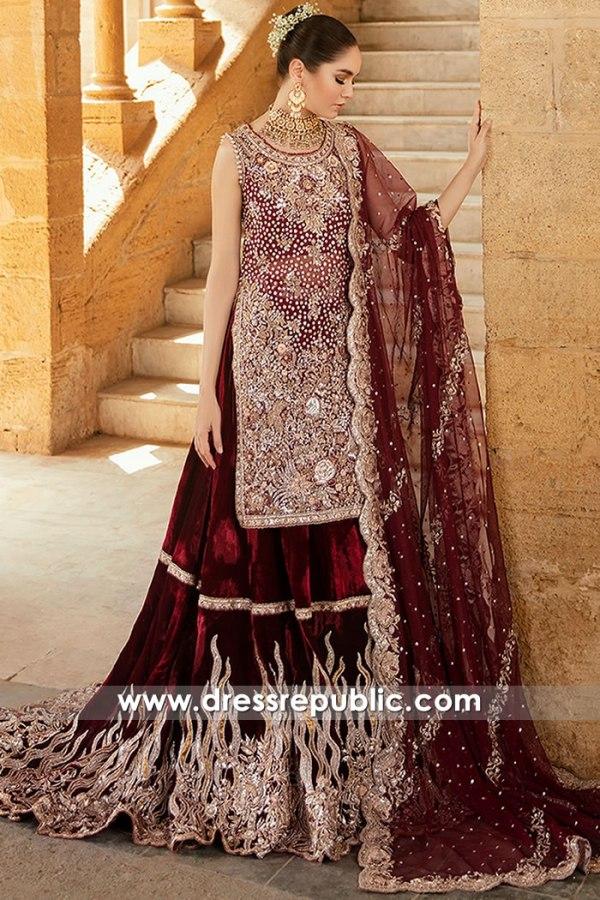 DR16181 Maroon Velvet Bridal Lehenga Gharara Choli for Winter 2021 / 2022
