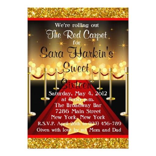 FREE Royal Red Carpet Birthday Party Invitations Template FREE Invitation Templates Drevio