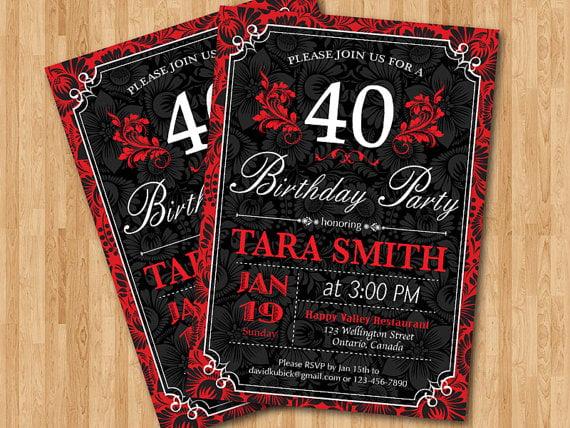 Funny 40th Birthday Invitations