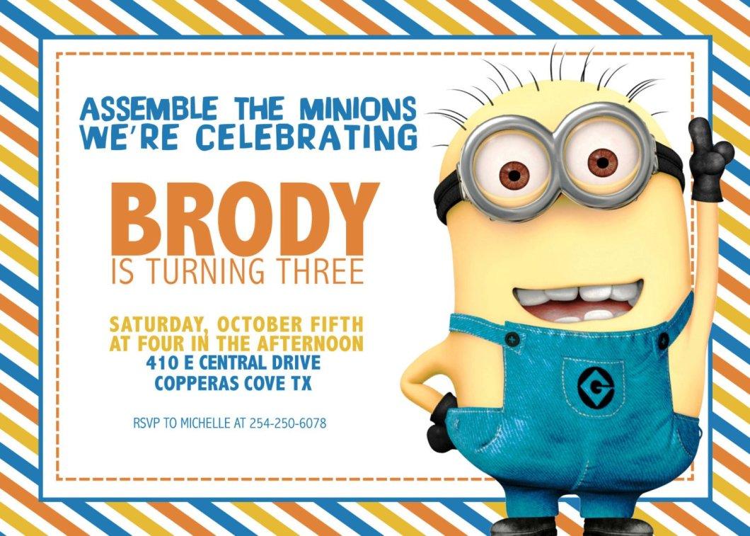 Free Minion Invitation Card Template Onvacationsite