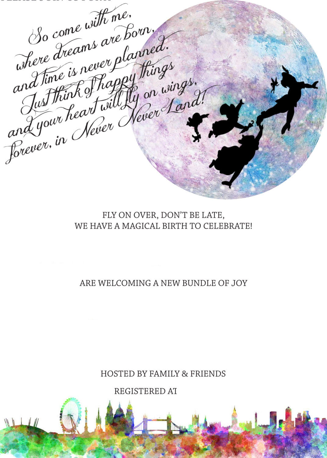 Free Peterpan In Neverland Baby Shower Invitation FREE Invitation Templates Drevio