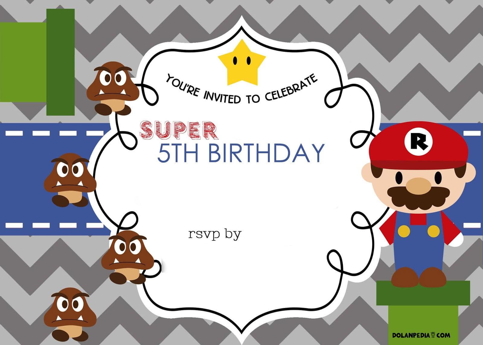 free mario bros 5th birthday invitation