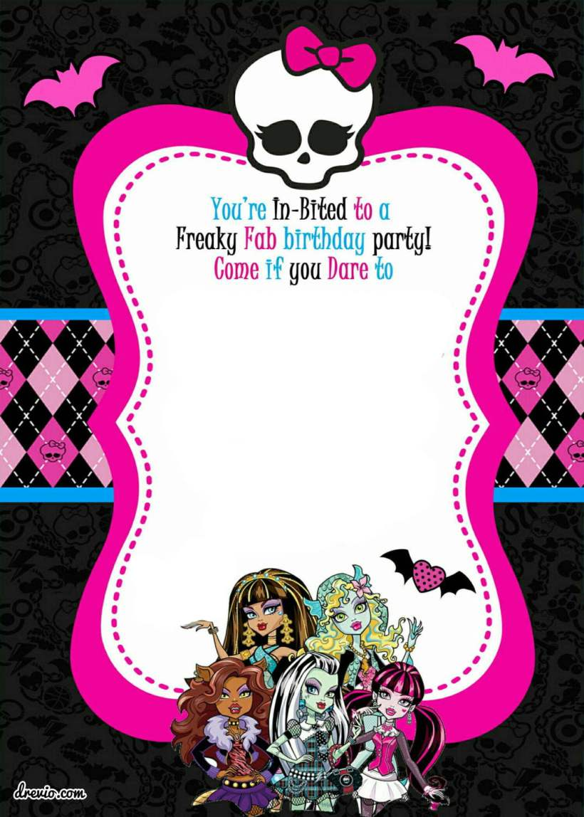 free monster high invitation template | Inviwall.co