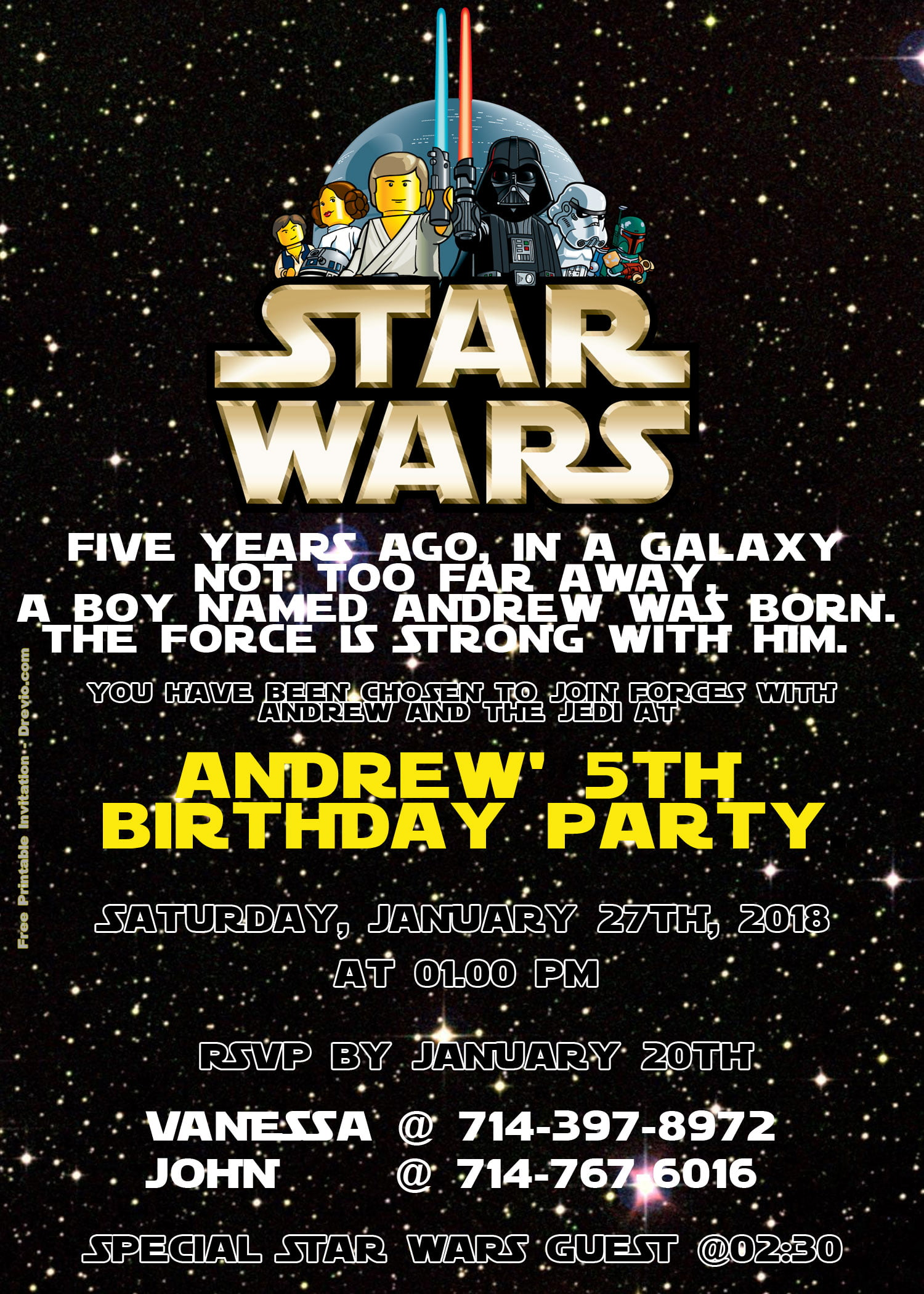free lego star wars birthday invitation