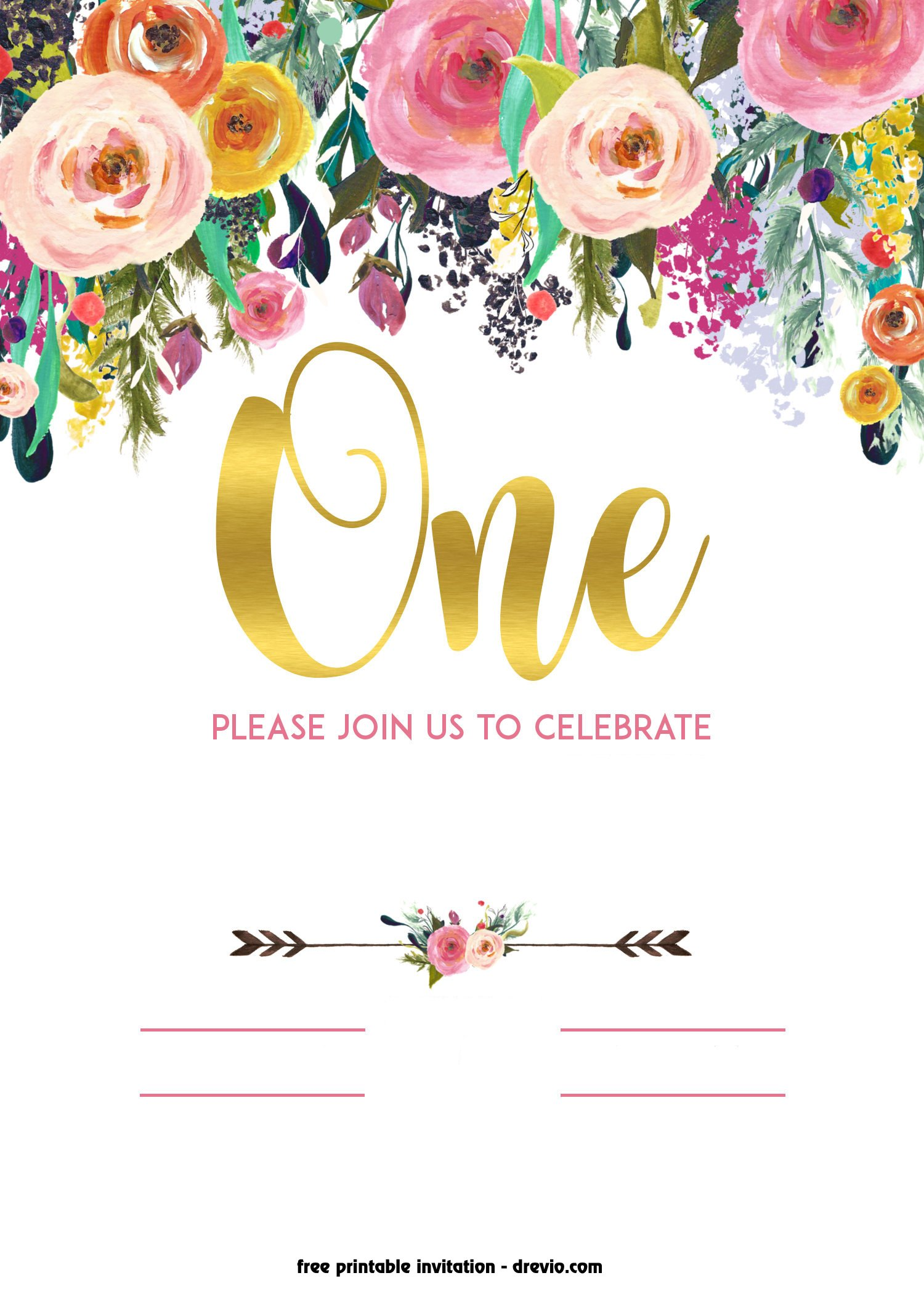 Free Printable 1st Birthday Invitation Vintage Style Free Invitation Templates