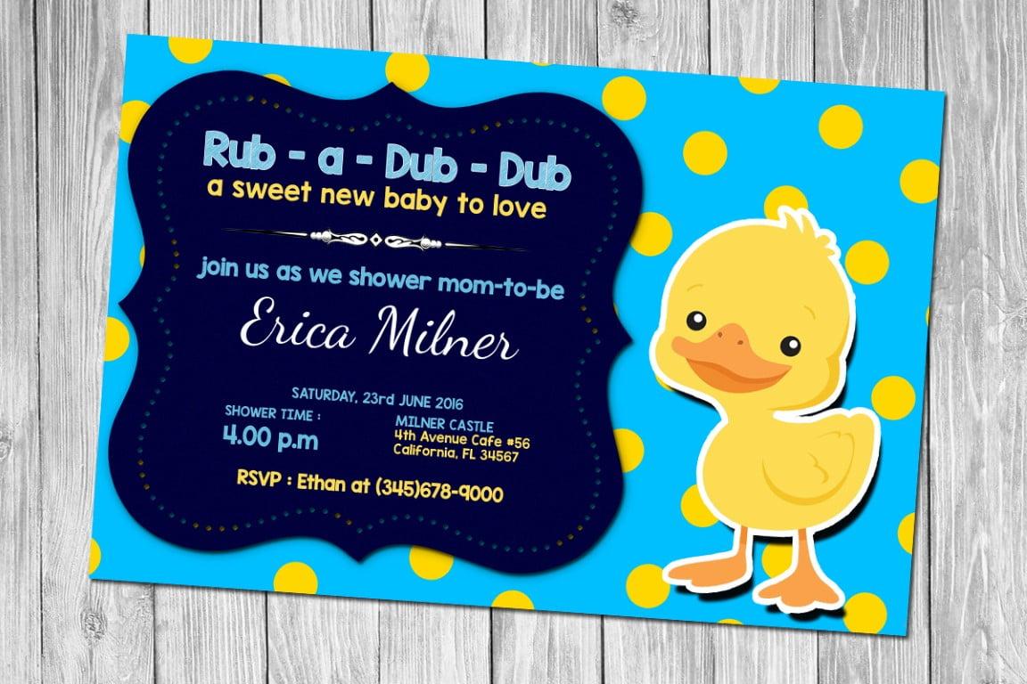 Free Printable Rubber Duck Polkadot Invitation Template