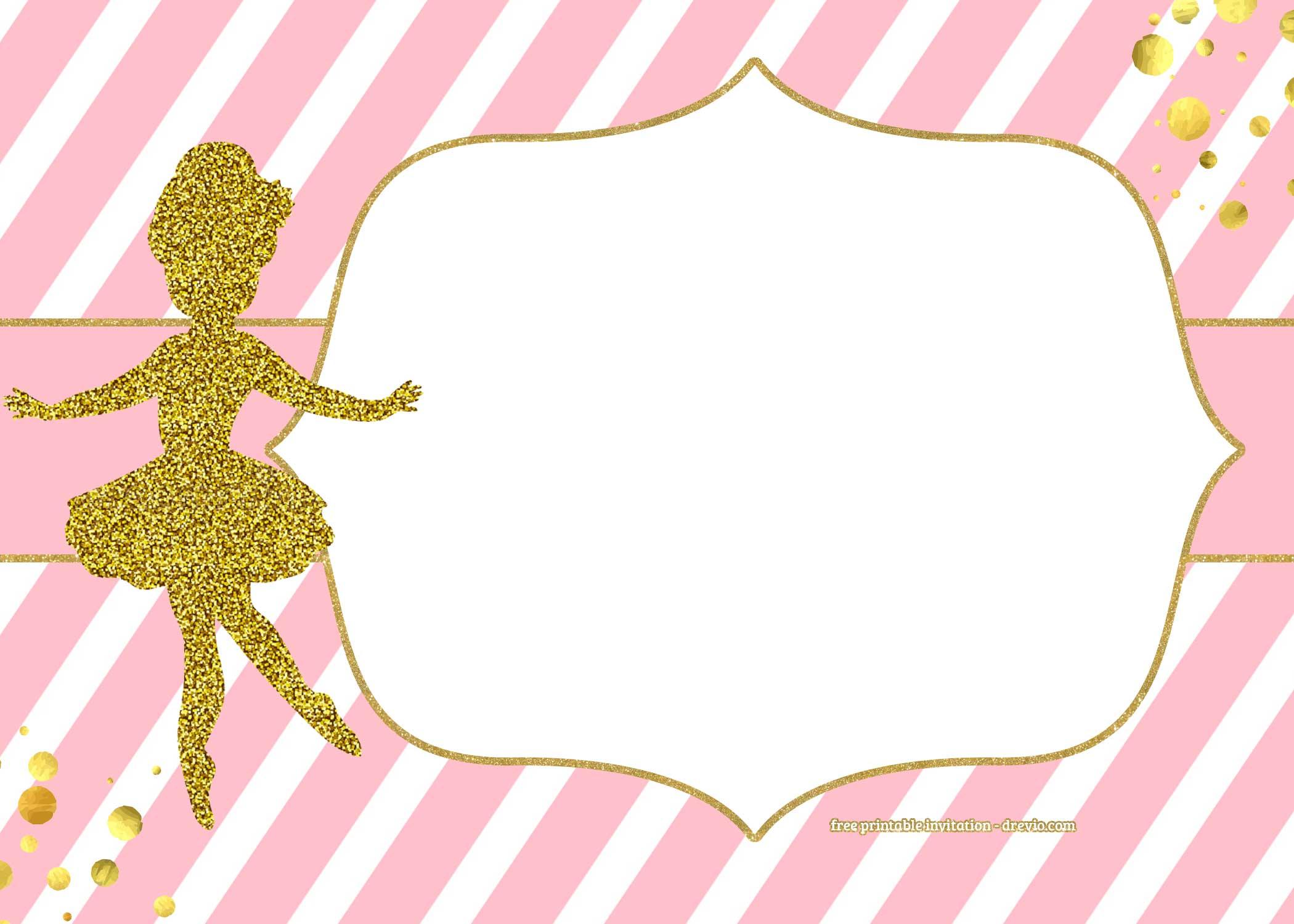 FREE Golden Ballerina Birthday Invitation Templates FREE Invitation Templates Drevio
