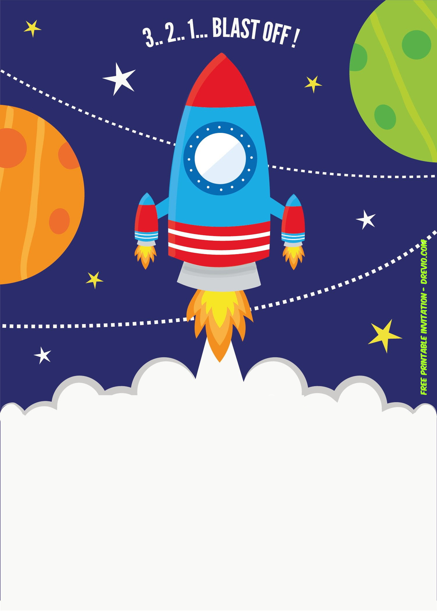 Free Printable Spaceship Rocket Ship Invitation Template
