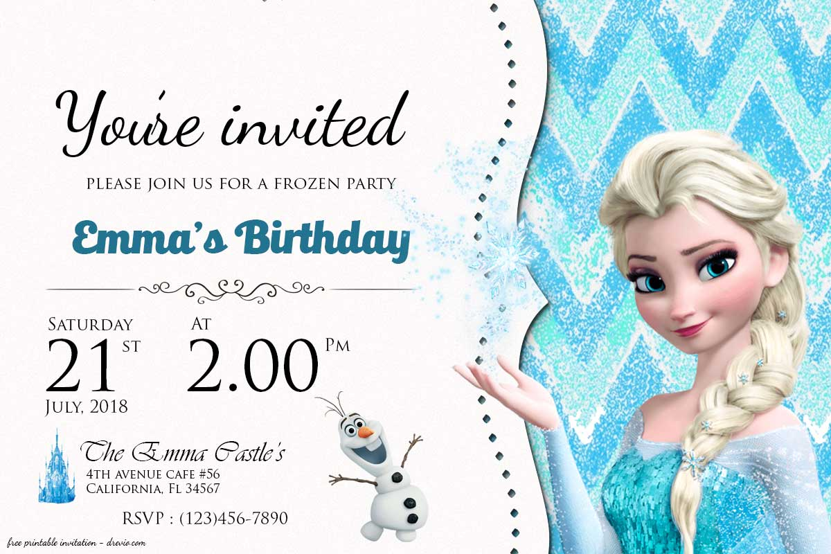 free frozen birthday invitation