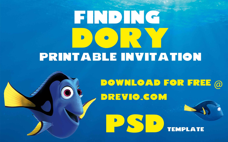FREE Editable Finding Dory Birthday Invitation PSD Template FREE Invitation Templates Drevio