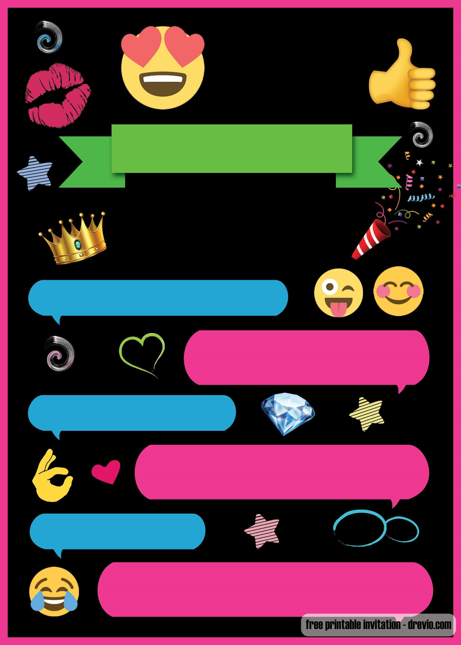 free printable emoji chat invitation