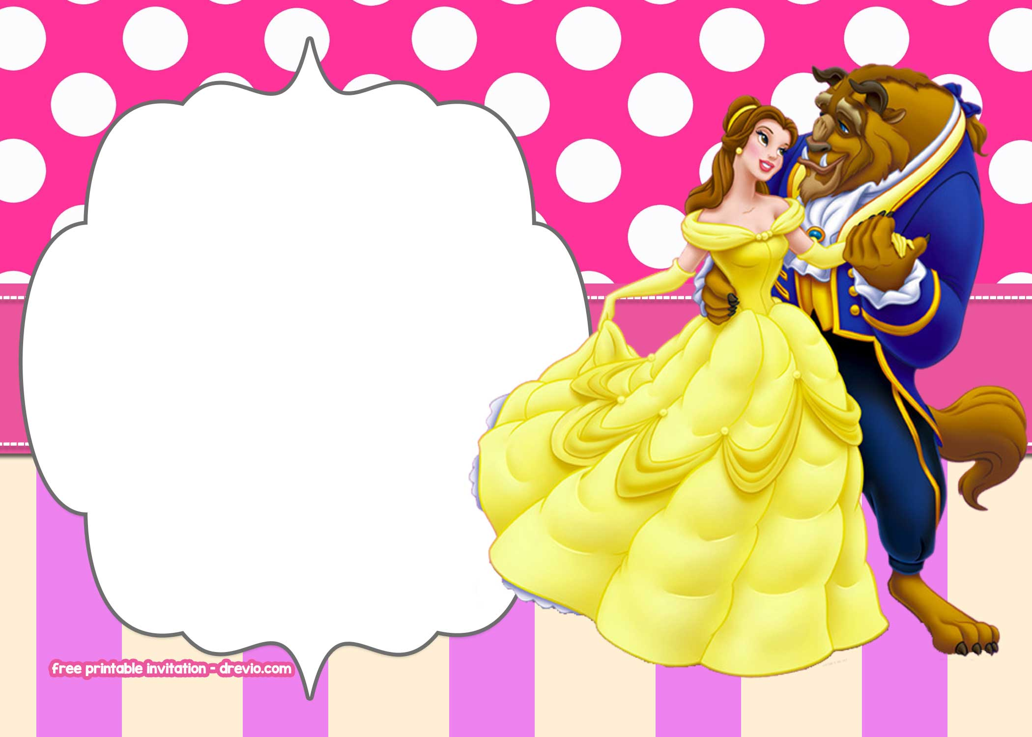 Free Beauty And The Beast Invitation Templates