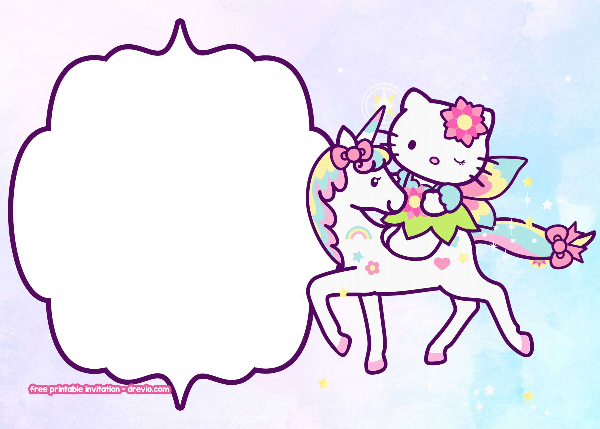 free hello kitty unicorn birthday