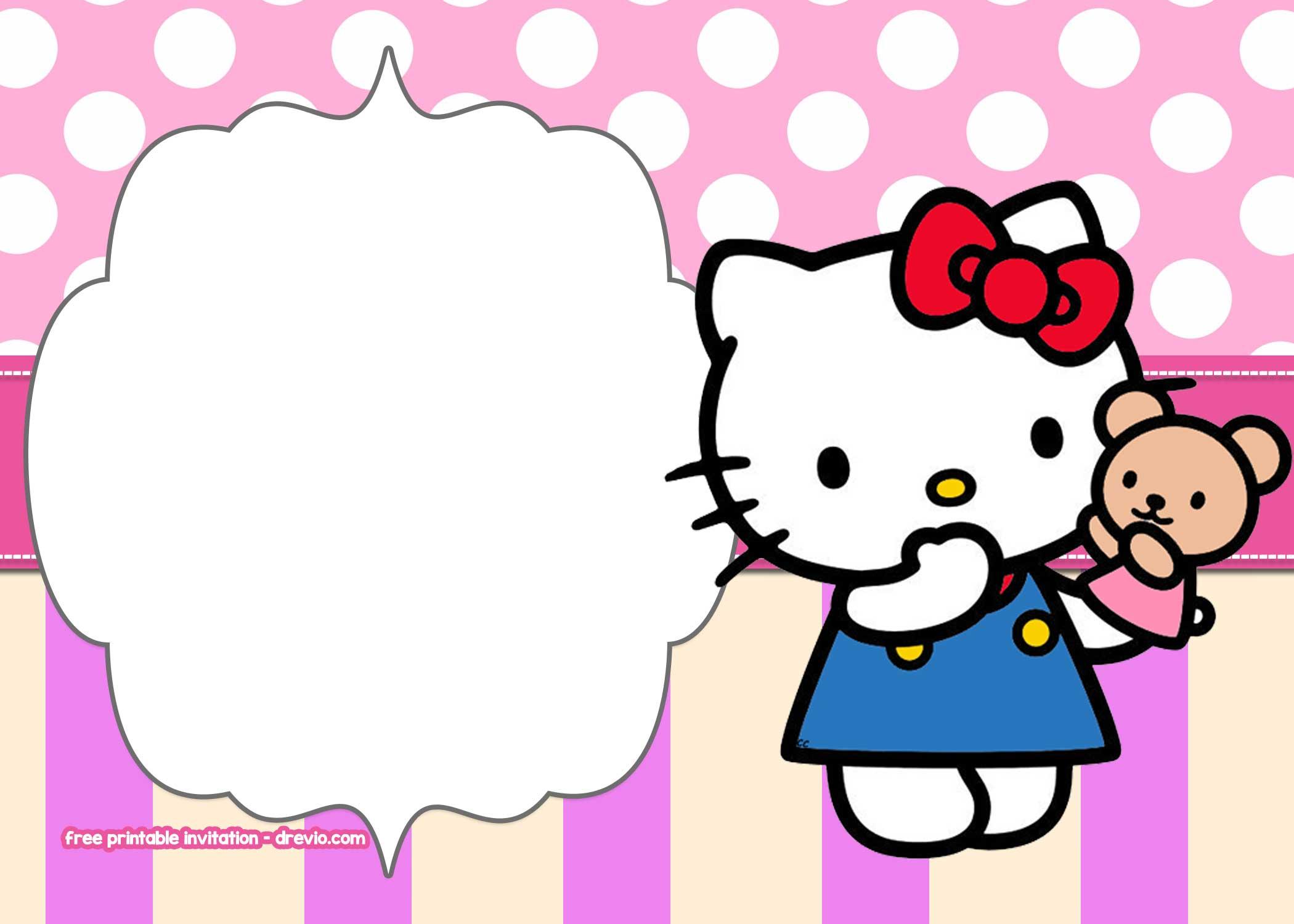 Free Printable Hello Kitty Pink Polka Dot Invitation