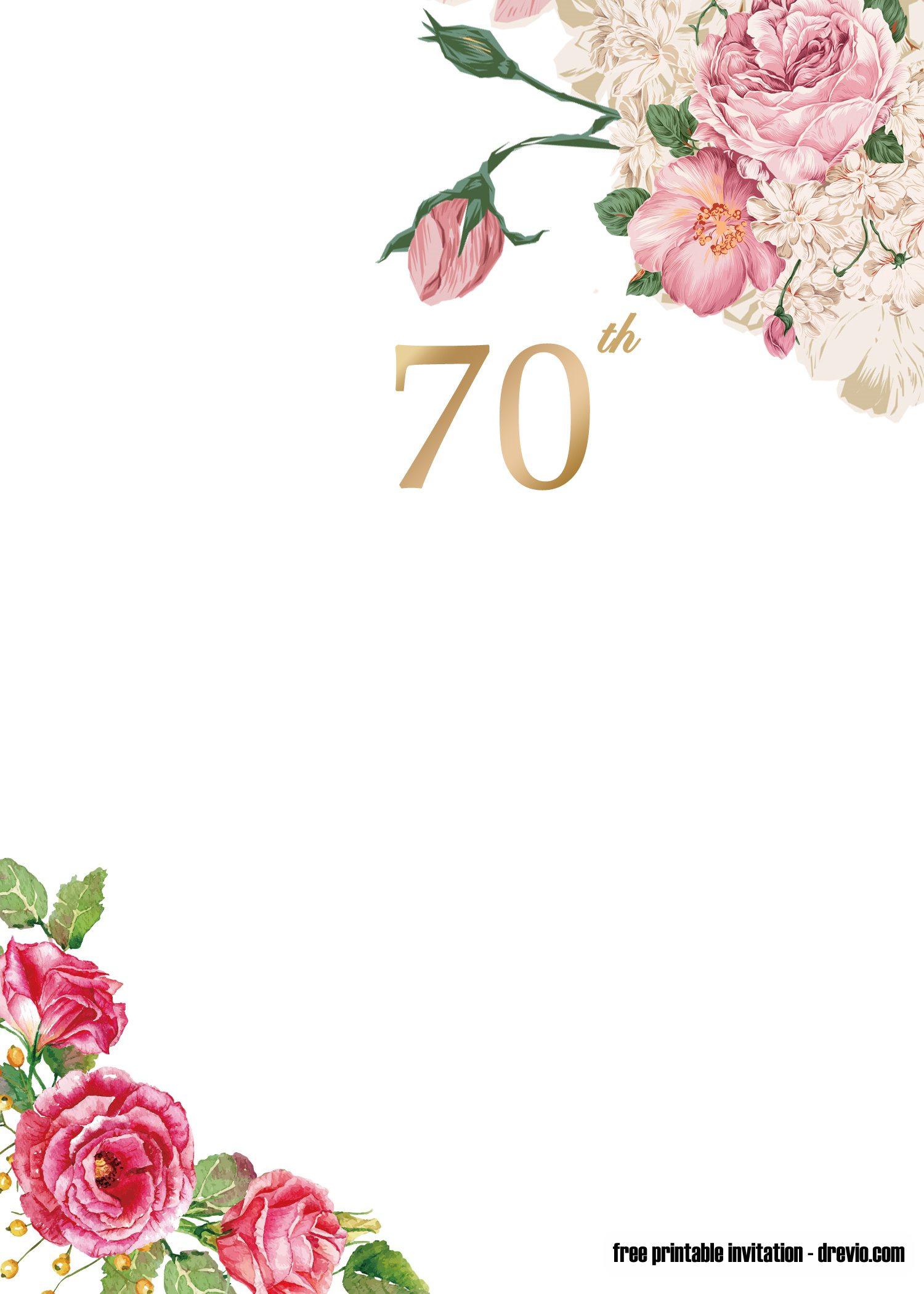 free printable 70th invitation
