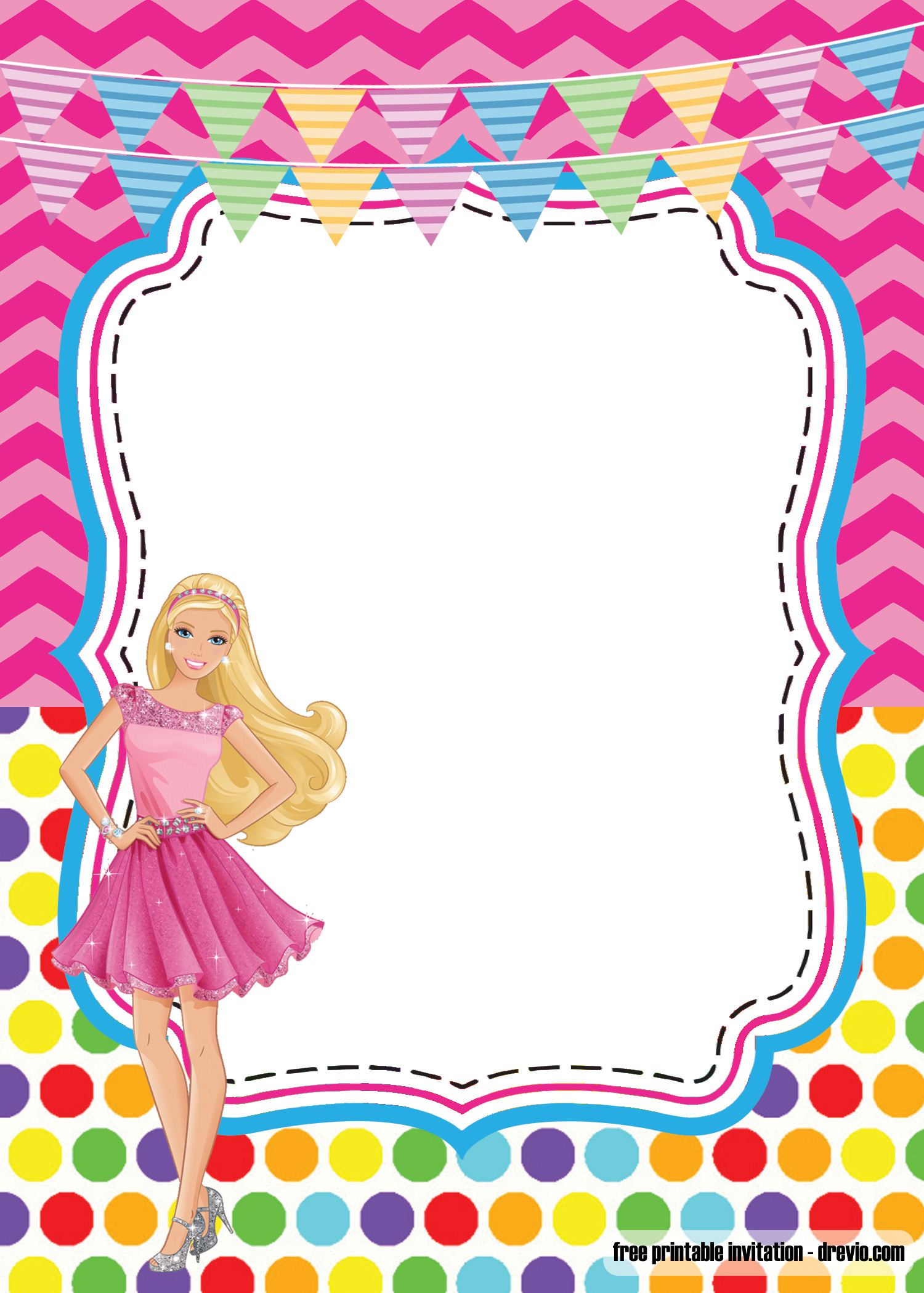 Girlie Birthday With Barbie Invitation Template FREE Printable FREE Invitation Templates