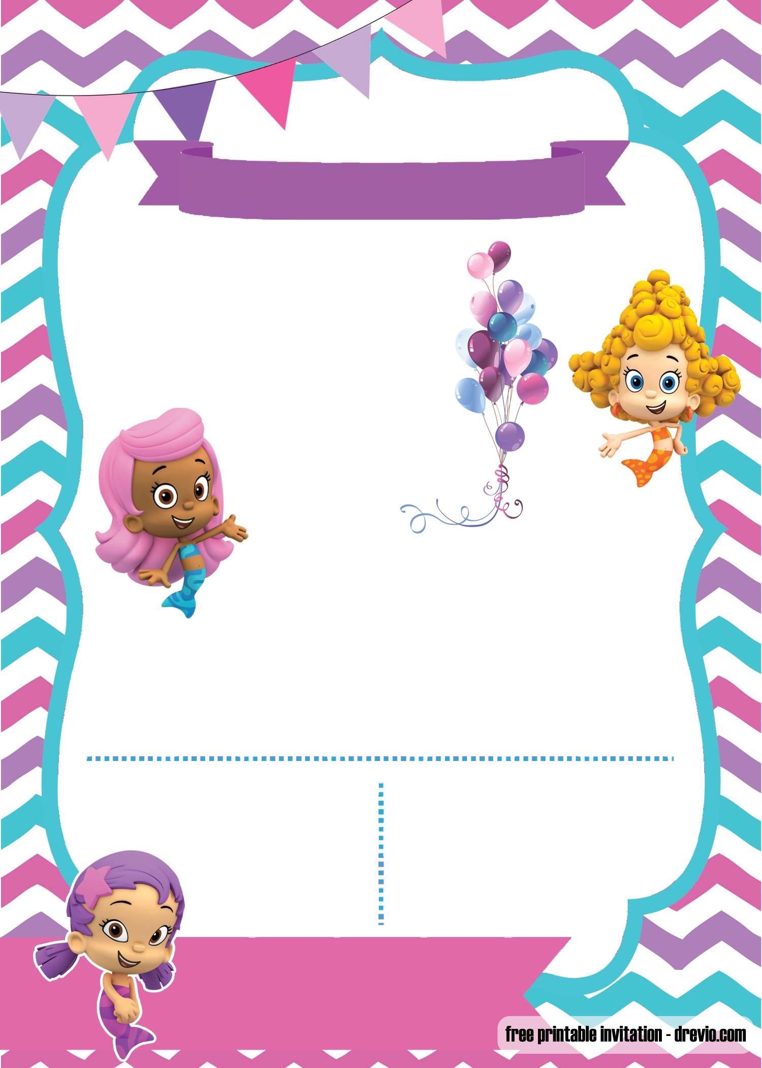 Free Printable Bubble Guppies Invitation Template