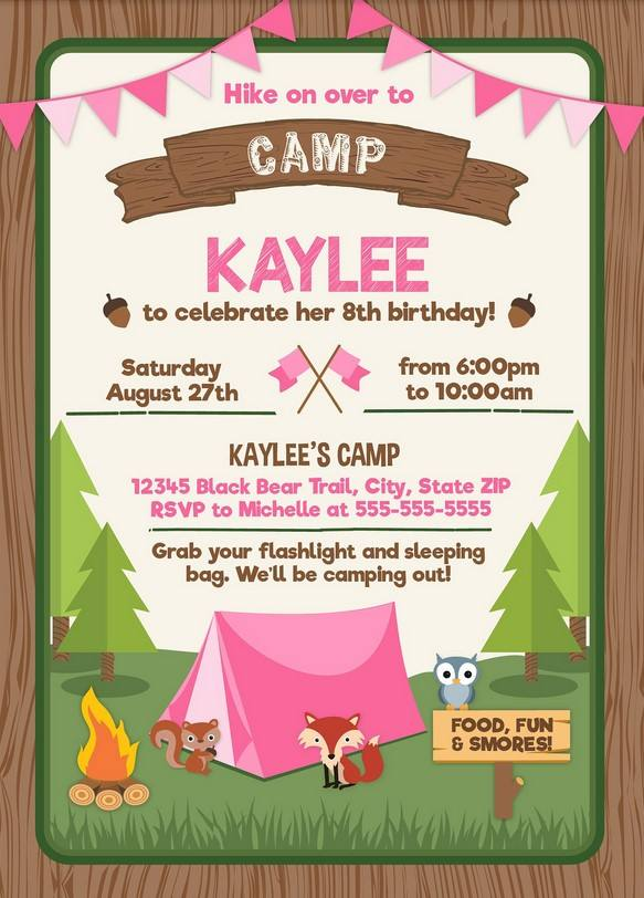 free printable camping party invitation
