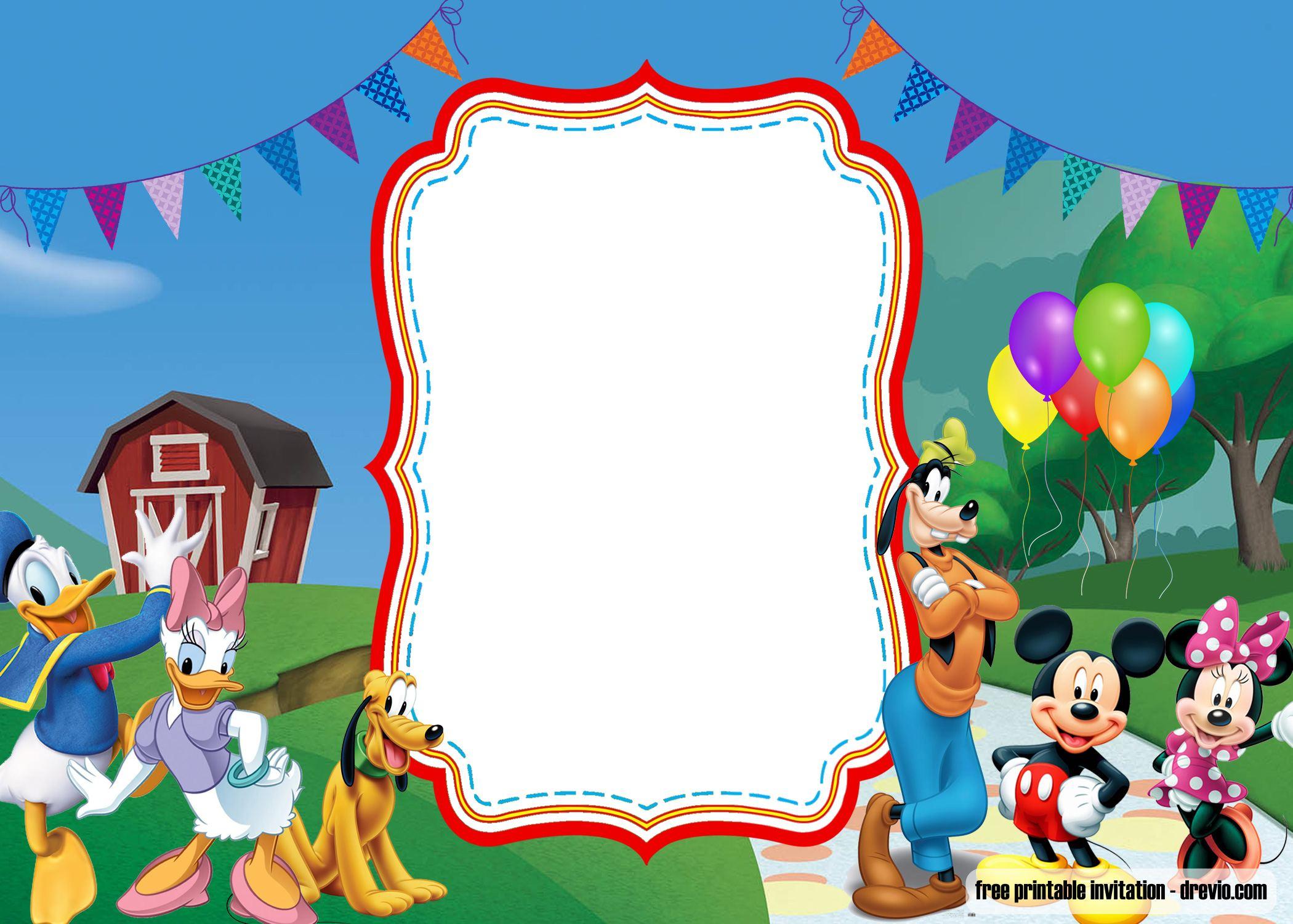 Free Mickey Mouse 1st Birthday Invitation With Photo Drevio