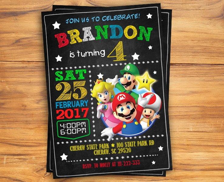 free super mario chalkboard invitation