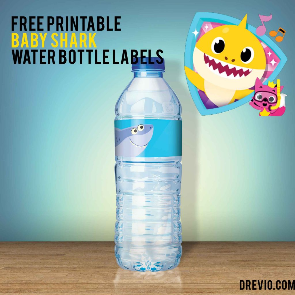 Free Pinkfong Baby Shark Water Bottle Labels Downloadable Free Invitation Templates