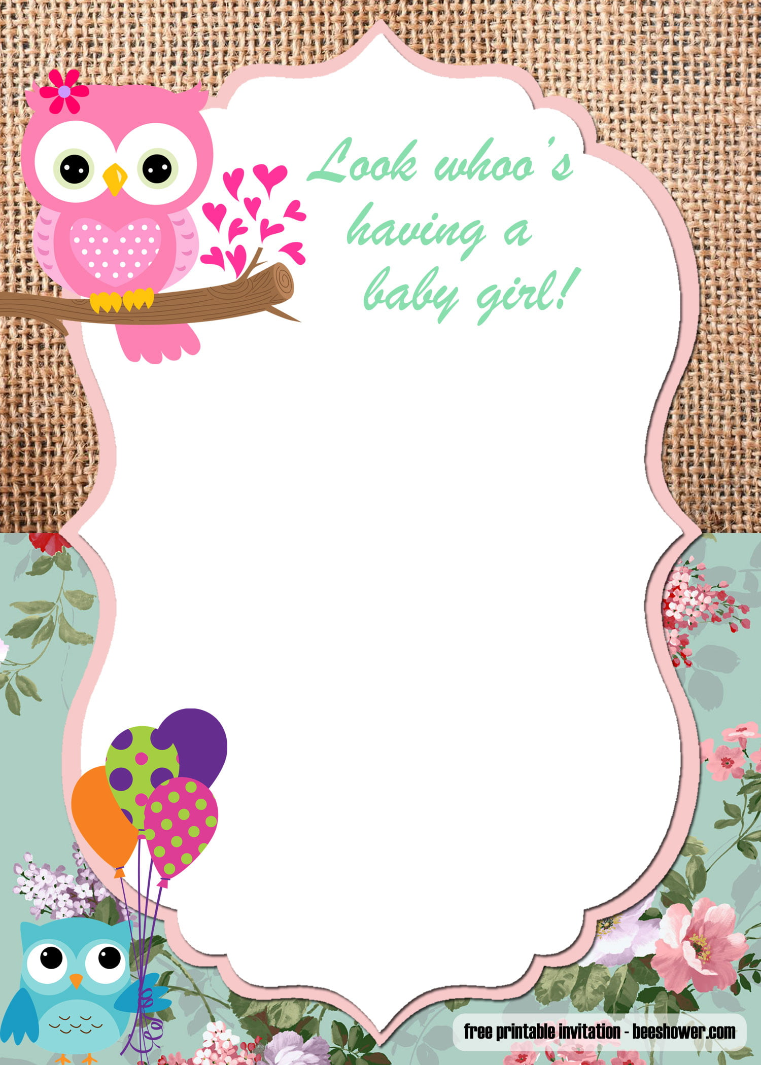 Free Printable Owl Baby Shower Invitations Templates Free Invitation Templates
