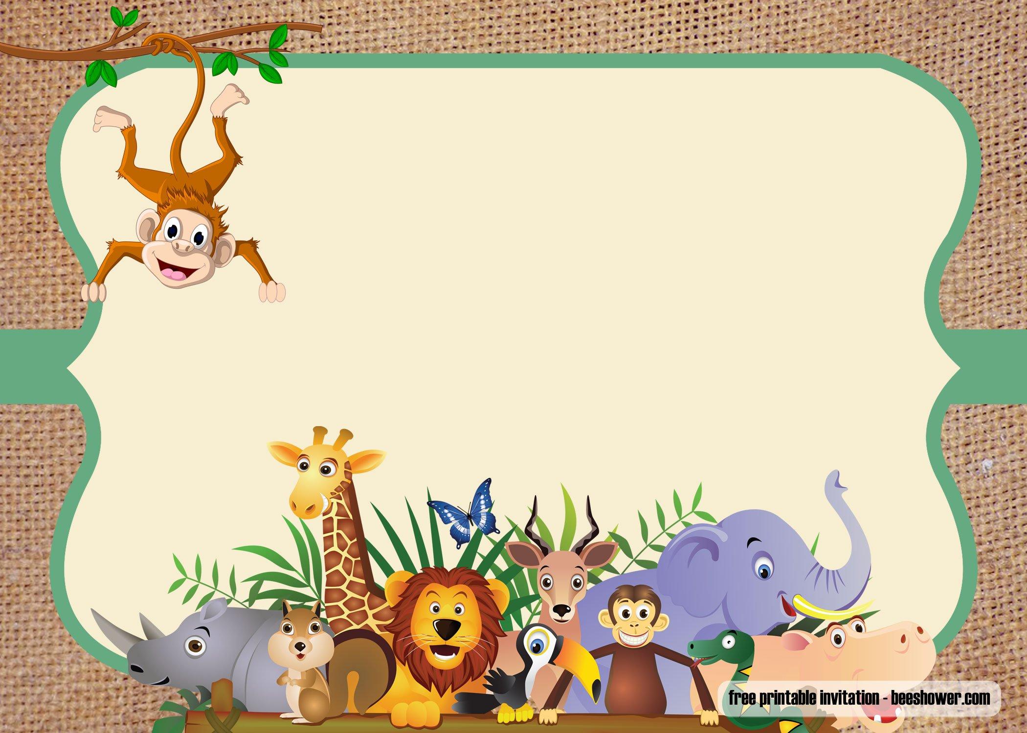 Free Safari Theme Baby Shower Invitations Templates Free Invitation Templates