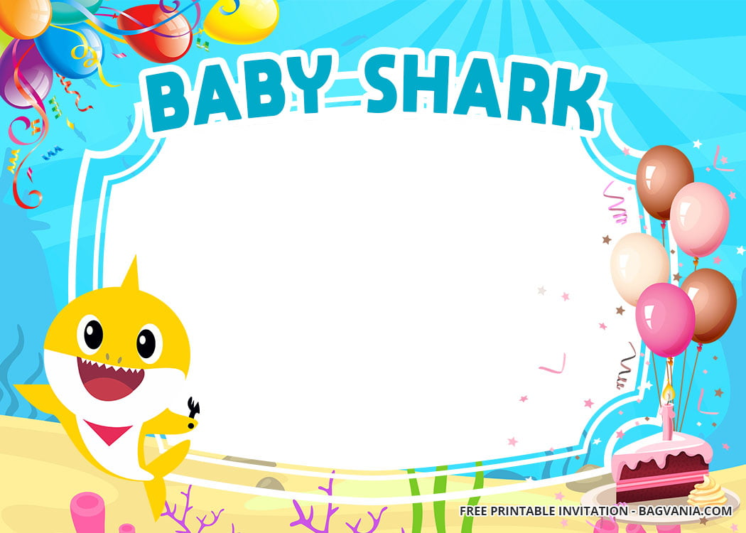 free baby shark baby shower invitation