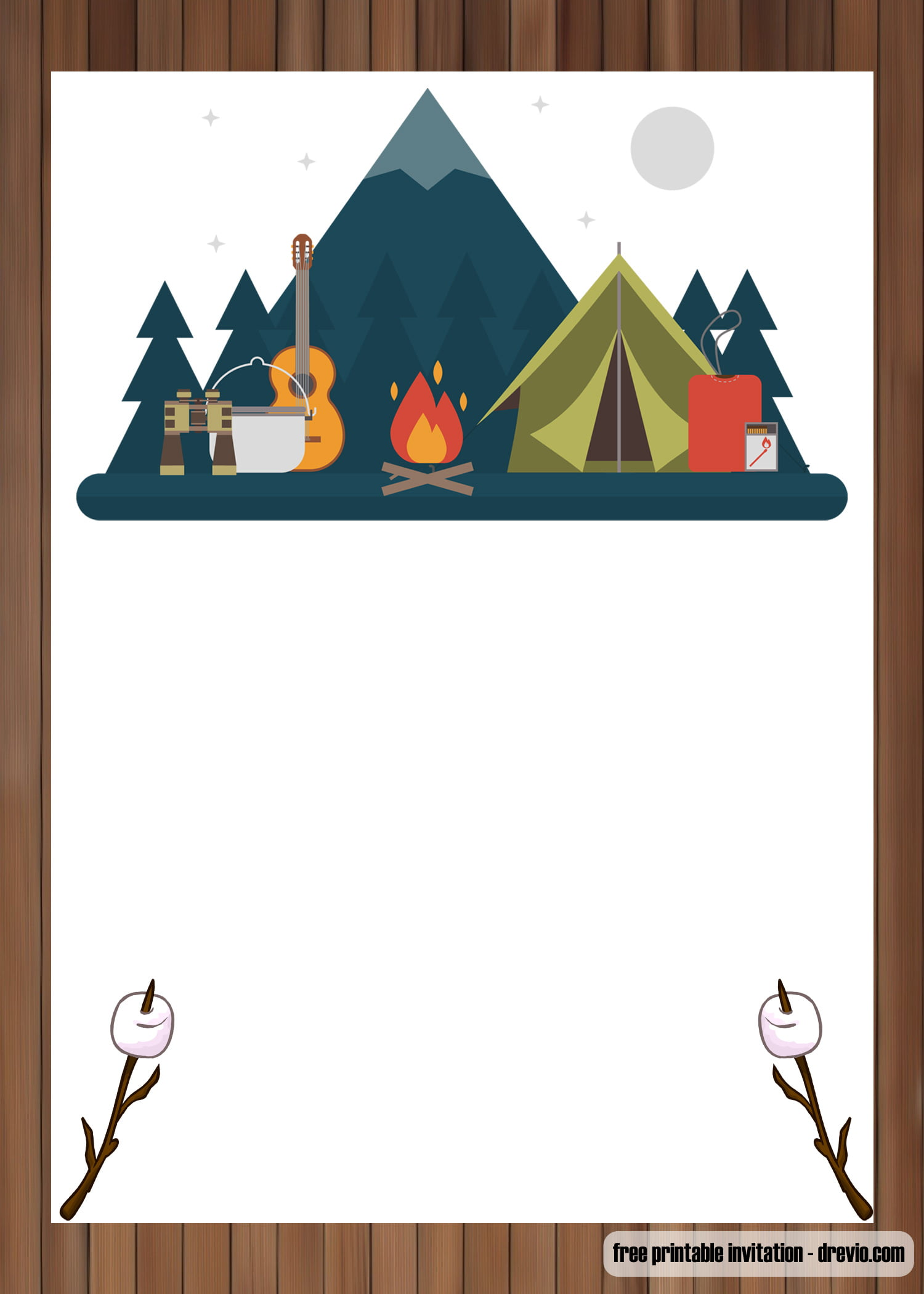 Free Printable Outdoor Camping Birthday Invitation