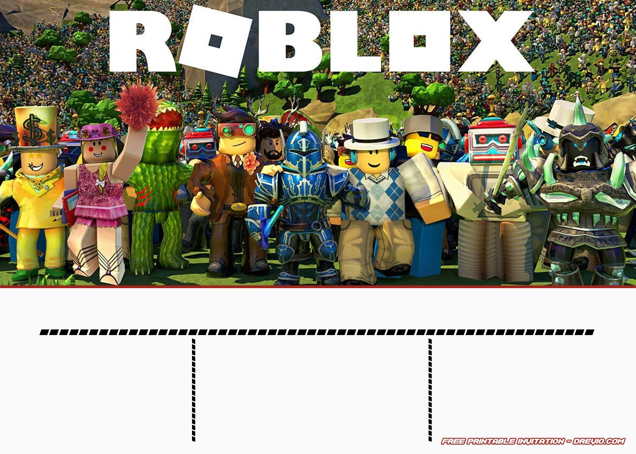free printable roblox invitation