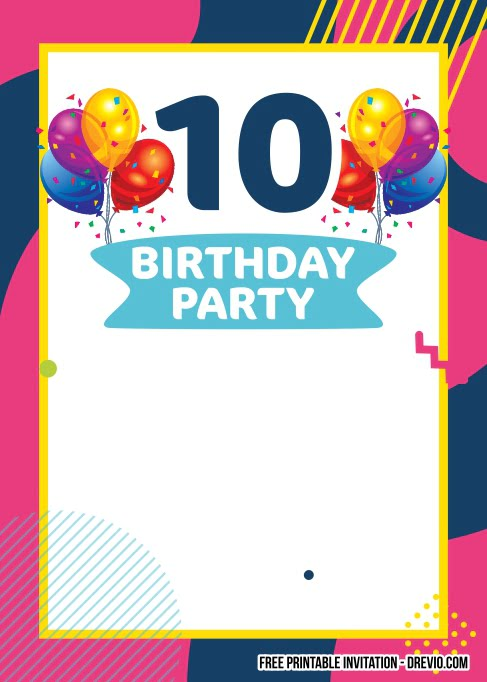 free printable 10th birthday invitation