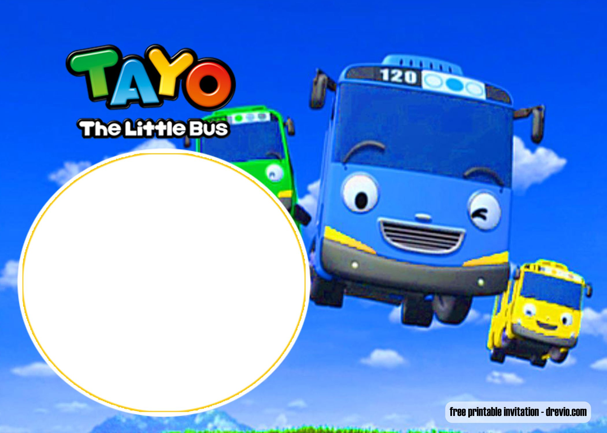 Free Printable Tayo Little Bus Invitation Templates