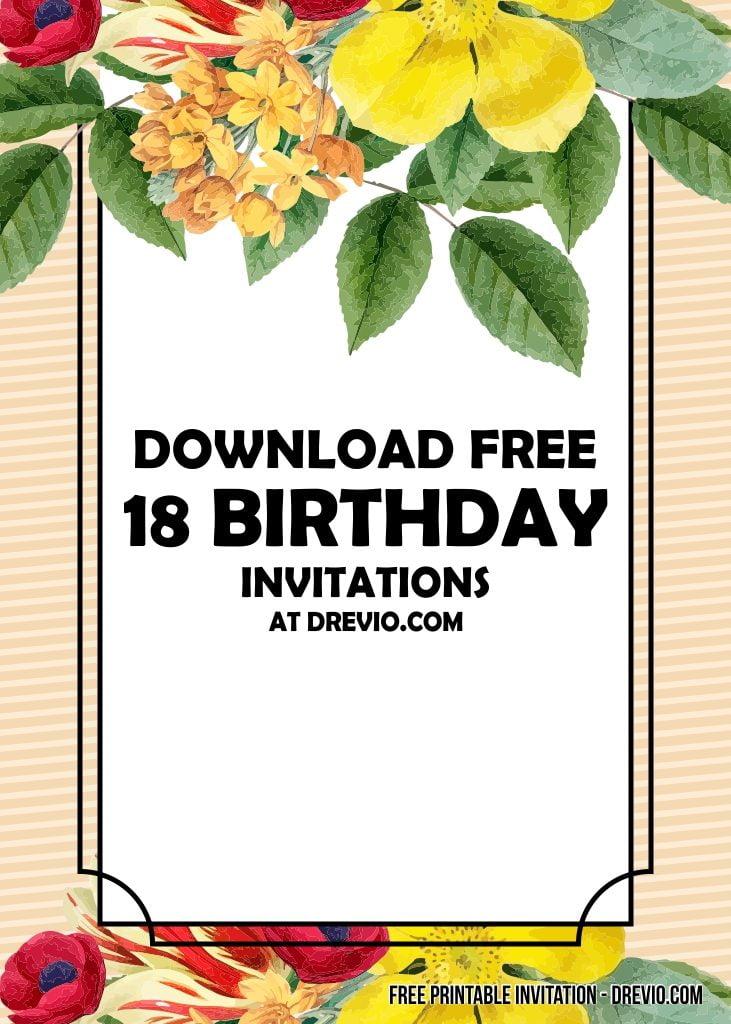 free printable 18th birthday invitation