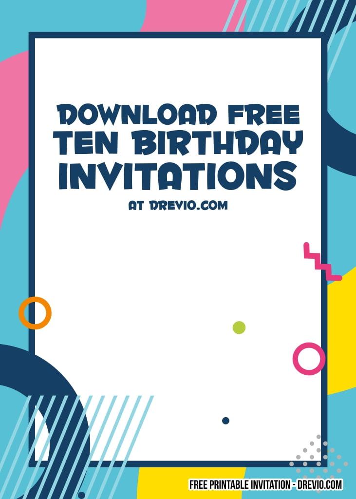 free printable 10th birthday invitation