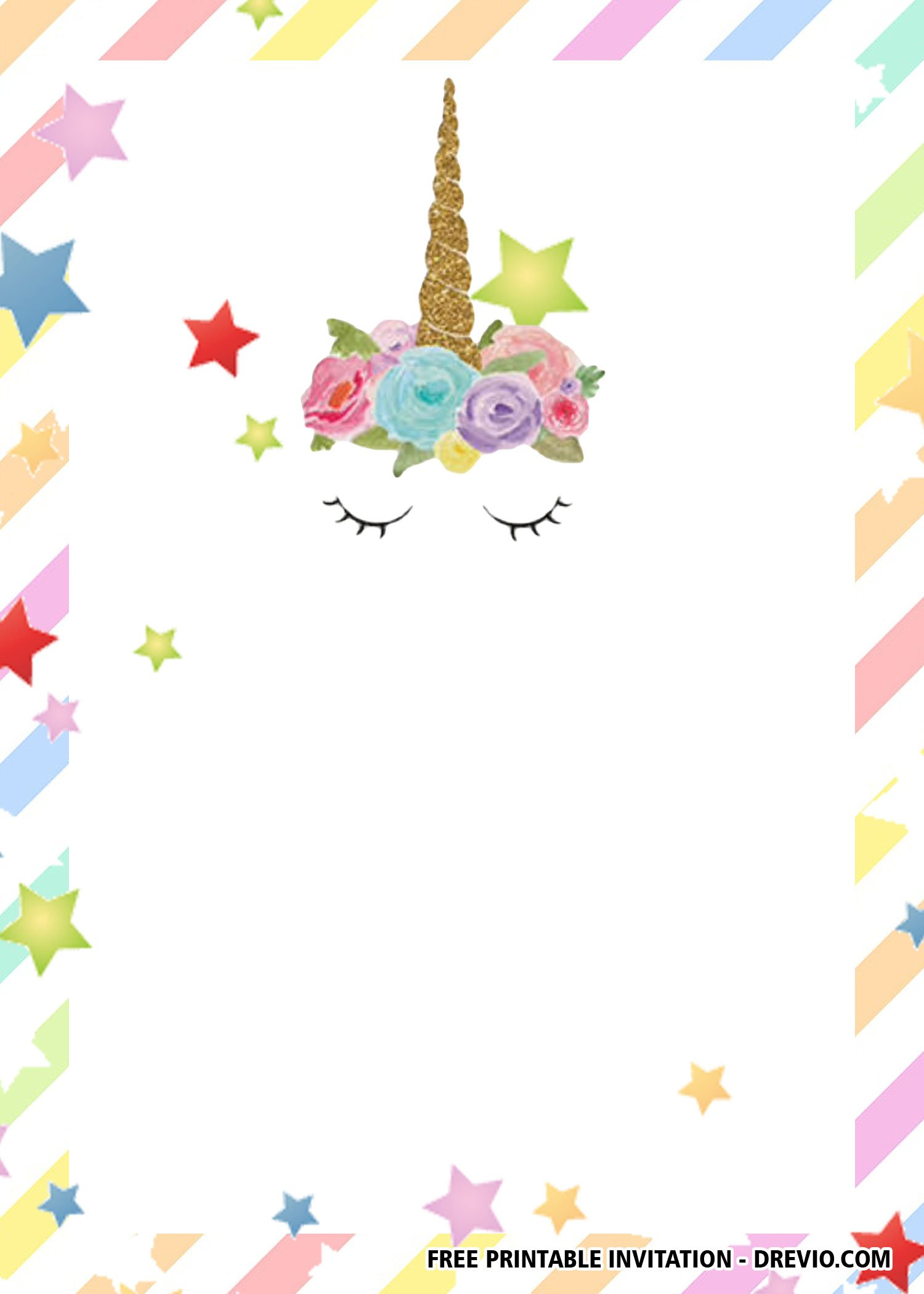 Free Printable Seamless Unicorn Invitation Templates