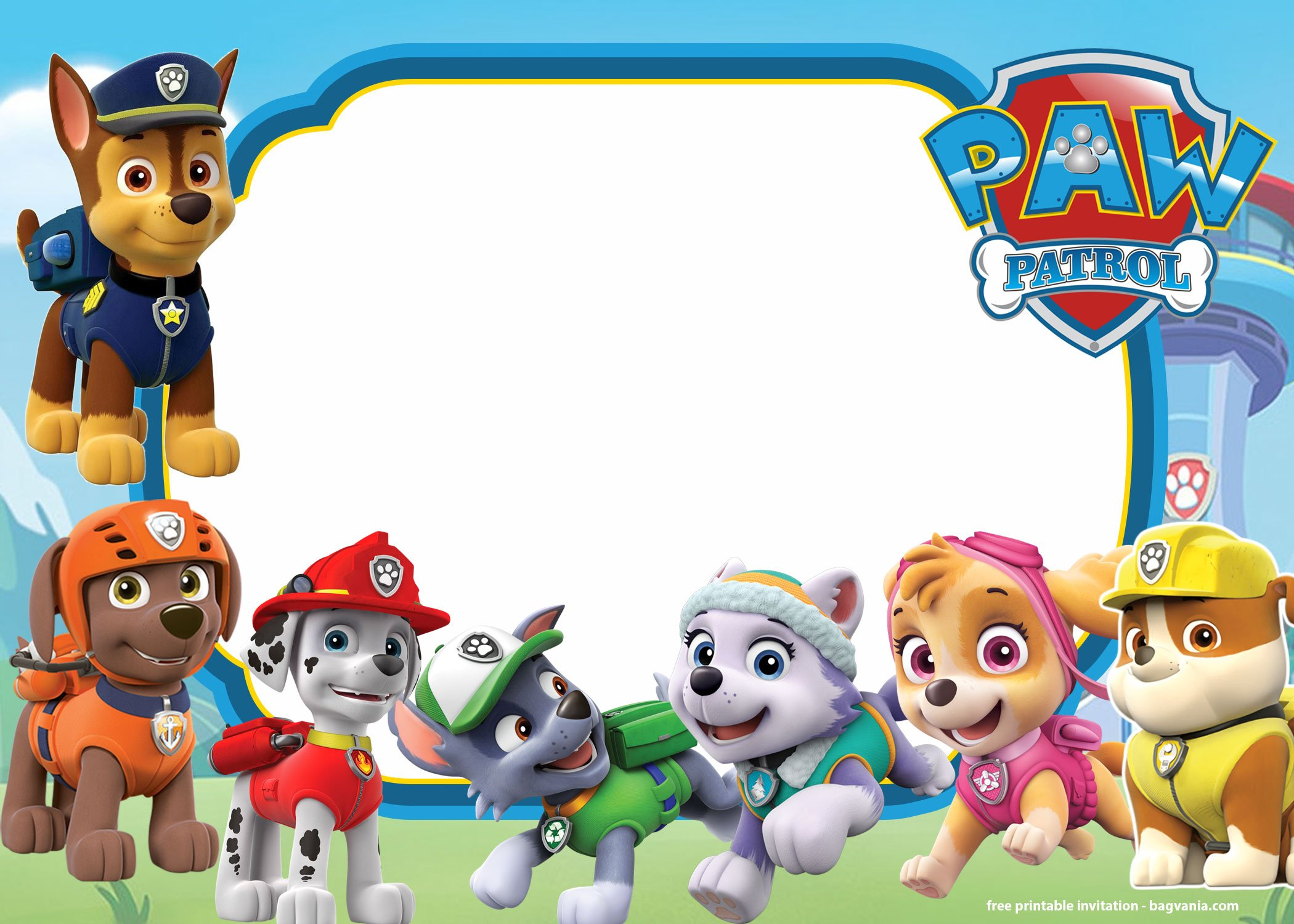 Free Printable Paw Patrol Invitation Templates Lookout Version Drevio