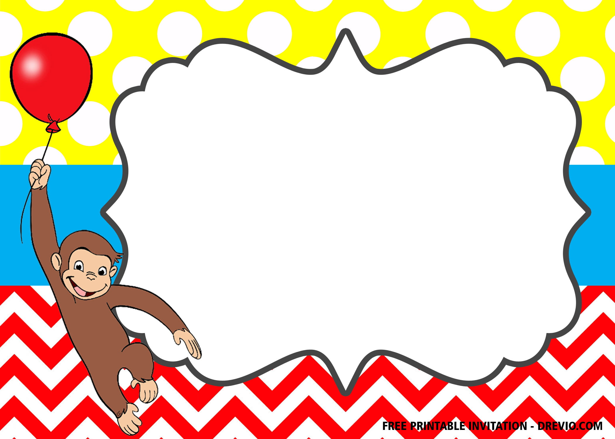 Free Curious George The Monkey Invitation Templates Free