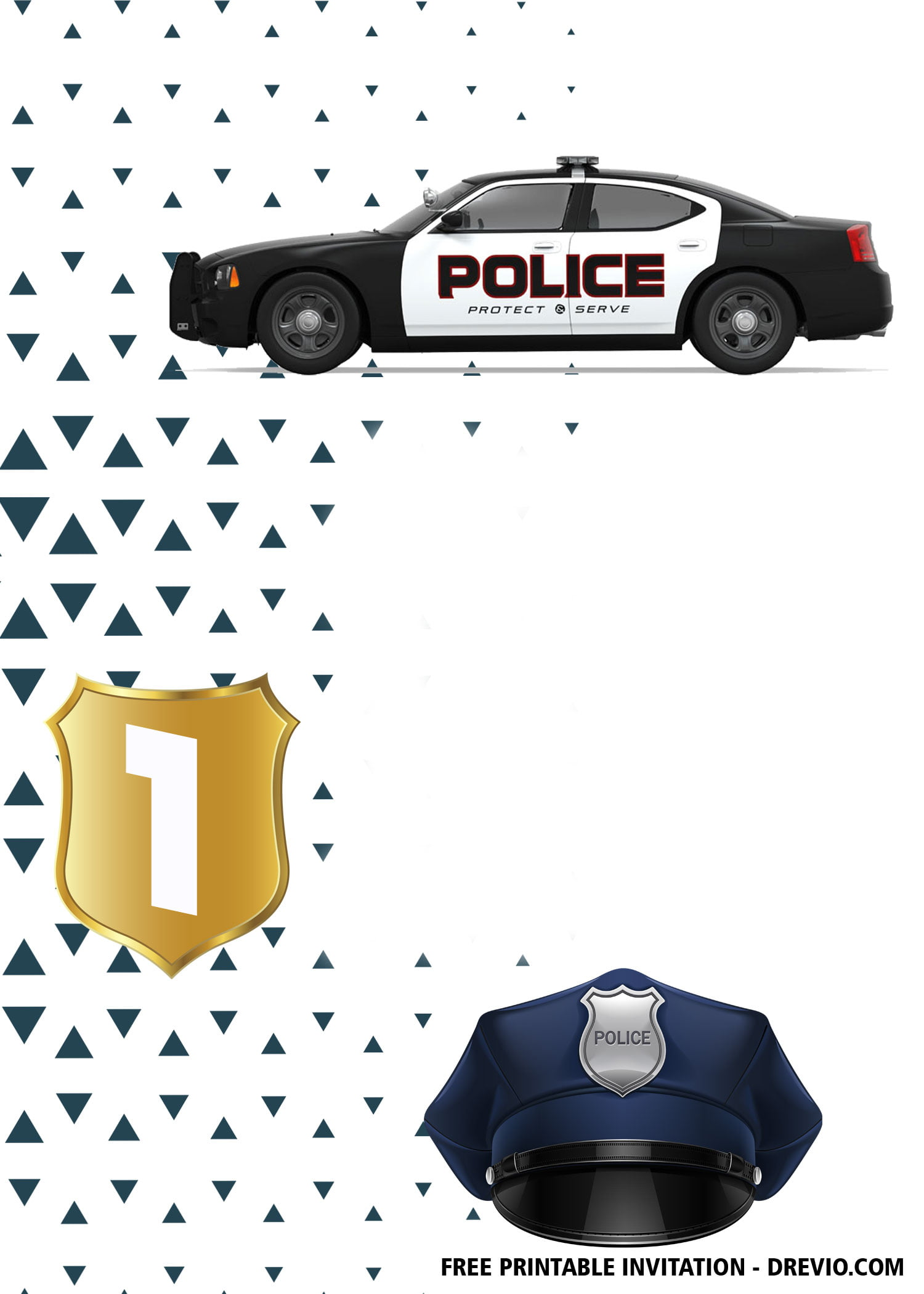 Free Police Car Birthday Invitation Templates Under 5